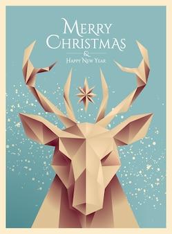 Cartel de navidad o tarjeta o plantilla de volante con cabeza de ciervo de baja poli de estilo retro y feliz navidad