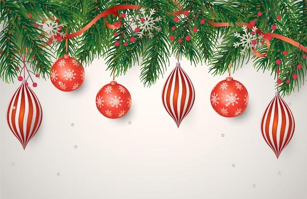 Cartel navideño con decoración roja