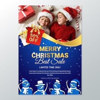 Cartel navideño para rebajas con foto.