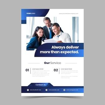 Cartel de negocio abstracto con foto de colegas trabajando