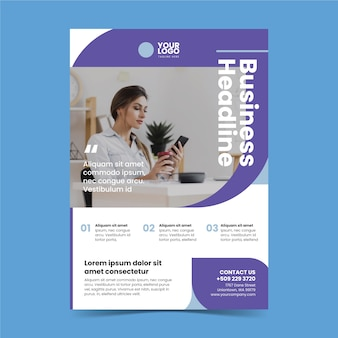 Cartel de negocio abstracto con foto de mujer trabajando
