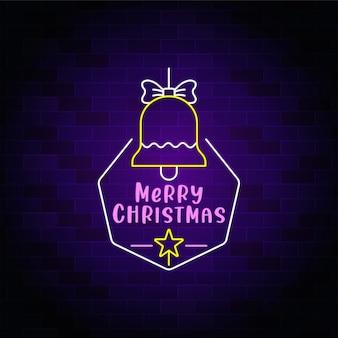 Cartel de neón de feliz navidad con icono de campana de navidad