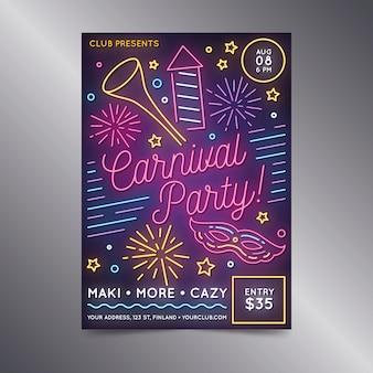 Cartel de neón de fiesta de carnaval con fuegos artificiales