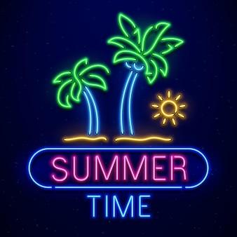 Cartel de neón de horario de verano
