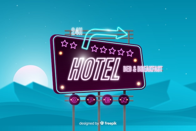 Cartel neon de hotel