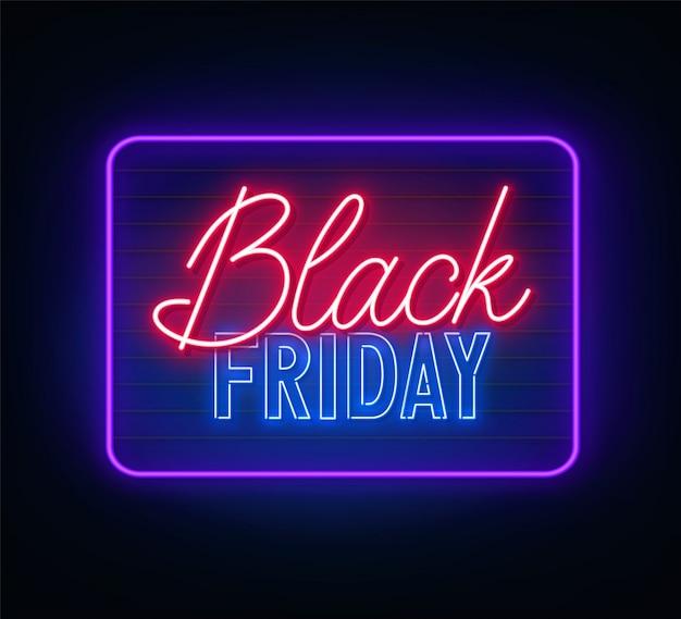Cartel de neón de viernes negro sobre fondo oscuro.