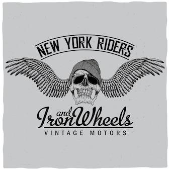 Cartel de new york riders con calavera en sombrero y alas ilustración