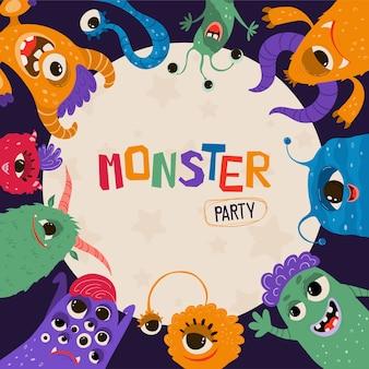Cartel de niños lindos con monstruos en estilo de dibujos animados