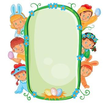 Cartel con niños pequeños en trajes de pascua