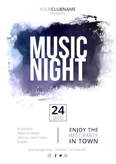 Cartel de noche de música moderna con abstract splash