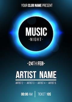 Cartel de noche de música moderna con eclipse.