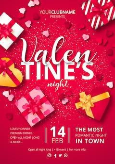 Cartel de la noche de san valentín con regalos listos para imprimir