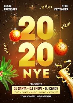 Cartel de nochevieja 2020 con adornos colgantes, botella de champán y detalles del evento.