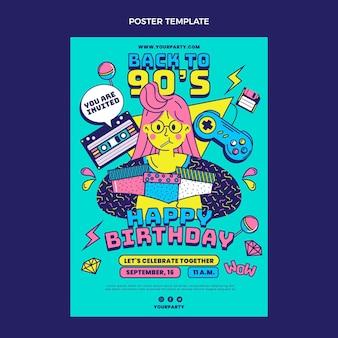 Cartel nostálgico de cumpleaños de los 90 dibujado a mano