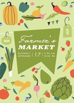 Cartel o banner vertical del mercado de agricultores de ilustración vectorial. composición con vegetales naturales y frutas orgánicas. cartel publicitario del evento del mercado de agricultores orgánicos locales.