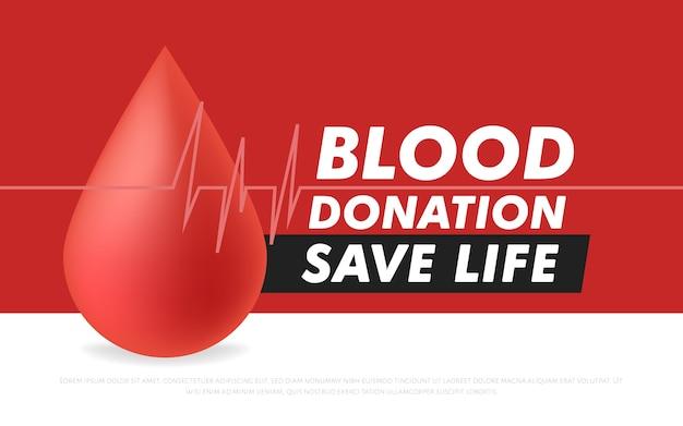 Cartel o folleto de donación de sangre para salvar vidas y asistencia hospitalaria.