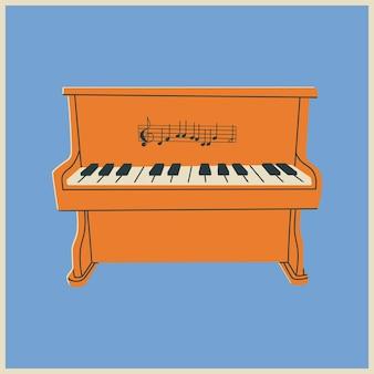 Cartel o icono dibujado a mano de piano
