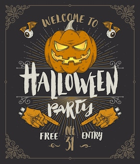 Cartel o invitación de halloween. ilustración con diseño de tipo de pincel dibujado a mano y calabaza de arte lineal.