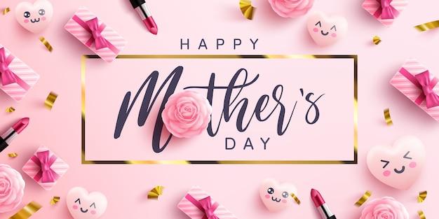 Cartel o pancarta del día de la madre con corazones dulces y caja de regalo rosa sobre fondo rosa.promoción y plantilla de compras o fondo para el concepto del amor y el día de la madre