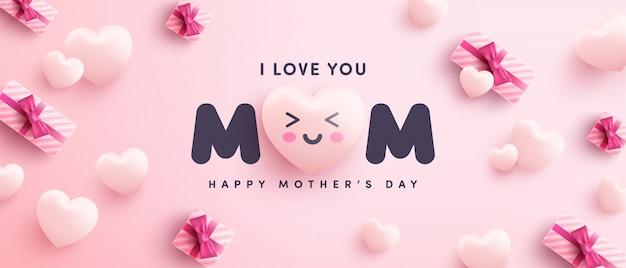 Cartel o pancarta del día de la madre con corazones dulces y caja de regalo sobre fondo rosa.promoción y plantilla de compras o fondo para el concepto de amor y día de la madre