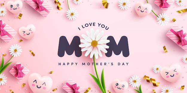 Cartel o pancarta del día de la madre con corazones dulces, flores y caja de regalo rosa sobre fondo rosa.promoción y plantilla de compras o fondo para el concepto de amor y día de la madre