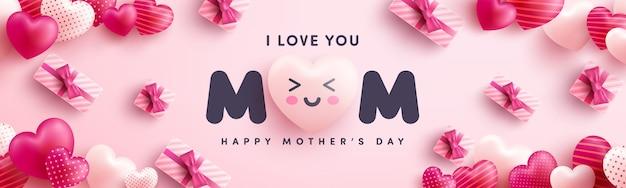 Cartel o pancarta del día de la madre con muchos corazones dulces y sobre fondo rojo. plantilla o fondo de promoción y compras para el concepto del día del amor y la madre