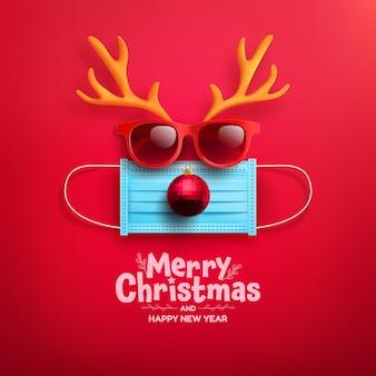 Cartel o pancarta de feliz navidad y feliz año nuevo con símbolo de reno