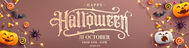 Cartel o pancarta de fiesta de halloween feliz con ghost pumpkinbatcandy y elementos de halloween
