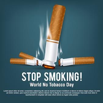 Cartel o pancarta para el mundo sin día del tabaco
