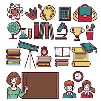 Cartel de objetos escolares con profesor y niños.