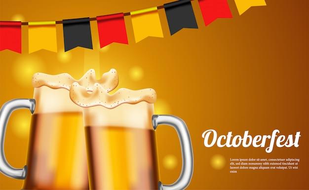 Cartel de octoberfest con cerveza y vidrio y bandera de alemania