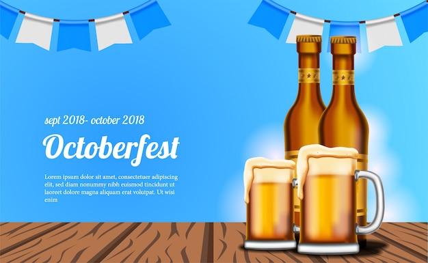 Cartel de octoberfest con cerveza y vidrio