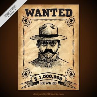 Cartel del oeste con boceto de delincuente