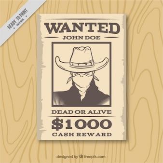 Cartel del oeste con delincuente dibujado a mano