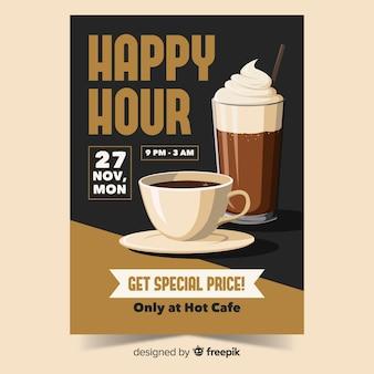 Cartel de oferta de café de hora feliz