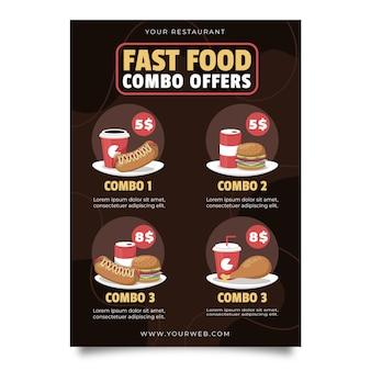 Cartel de oferta de comidas combinadas.