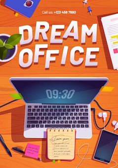 Cartel de la oficina de ensueño con vista superior del espacio de trabajo con computadora portátil, papelería y planta en la mesa de madera