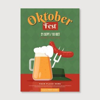 Cartel de la oktoberfest con cerveza y salchichas