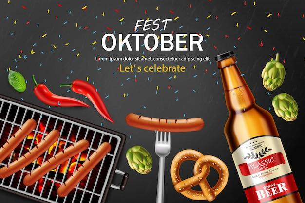 Cartel de oktoberfest con cerveza