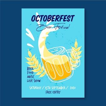 Cartel de la oktoberfest con cerveza