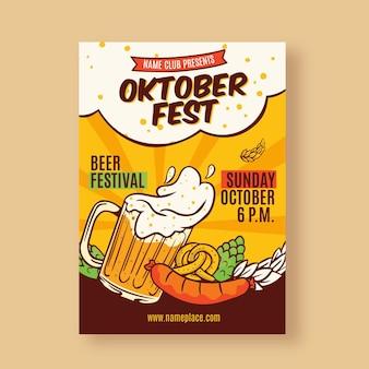 Cartel de oktoberfest dibujado a mano