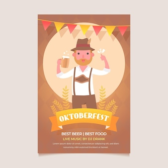 Cartel de oktoberfest de diseño plano con hombre