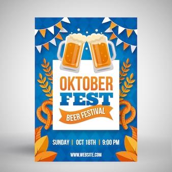 Cartel de oktoberfest de diseño plano con pintas