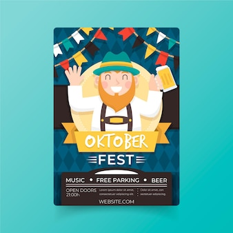 Cartel de oktoberfest de diseño plano