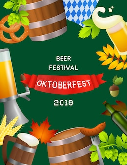 Cartel del oktoberfest del festival de la cerveza con símbolos del festival