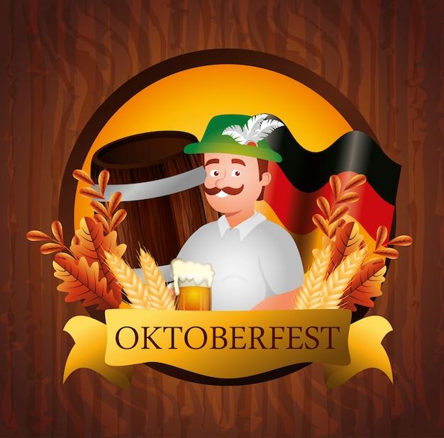 Cartel de la oktoberfest y hombre con cerveza