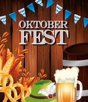 Cartel de la oktoberfest con jarra de cerveza e iconos