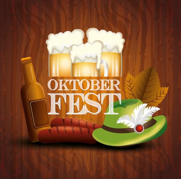 Cartel de la oktoberfest con jarras de cerveza e íconos