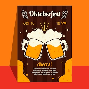 Cartel de la oktoberfest con pintas