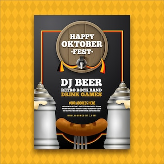 Cartel de oktoberfest realista con cerveza